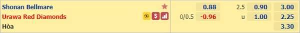 Kèo bóng đá giữa Shonan Bellmare vs Urawa Reds